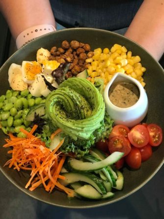 Sumo bowl poke bowl lunch brunch food salad healthy option choice rolleston faringdon selwyn christchurch canterbury nz new zealand avocado corn sweet corn chickpea eggs egg edamame carrots cucumber tomato
