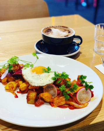 porkbelly hash pork belly hash egg kimchi onion potato fried egg chutney yummy meal breakfast brunch brunchgoals best in rolleston selwyn coffee latteart latte tulip atomic coffee chocolate