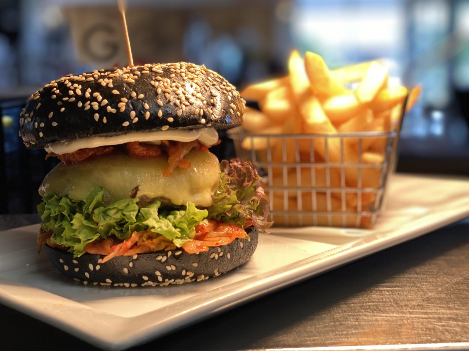 burger cheeseburger cheese lettuce kimchi korean asian style activate charcoal bun black bun fries tasty rolleston burger place