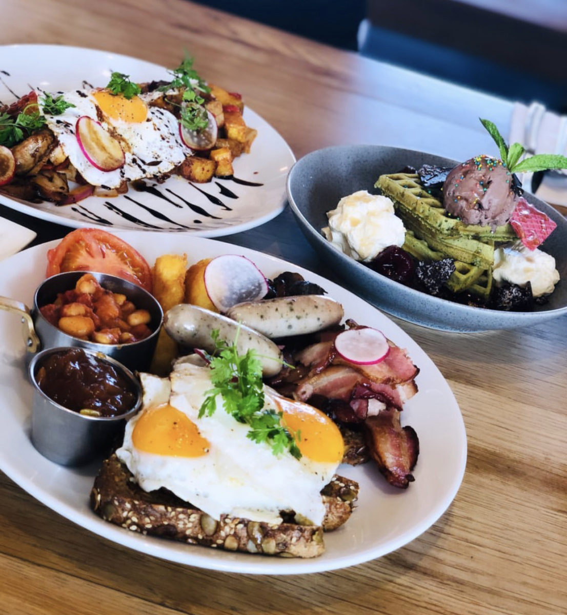 big breakfast pork belly hash matcha waffles yummy breakfast rolleston premium lunch brunch cafe bar pub restaurant gastropub bacon beans sausages ice cream